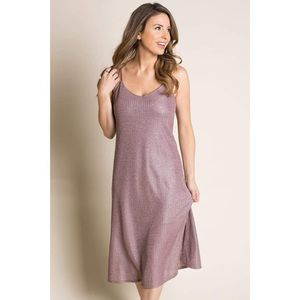 Amelia James Metallic Mauve Pink Slip Dress